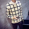 2016 New Fashion Casual lattice Cashmere Wool Sweater Men Pullovers Brand Winter Autumn Knitting Long Sleeve O Neck Knitted Wear