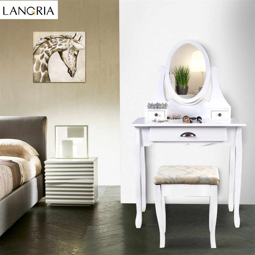LANGRIA Makeup Dressing Table Vanity and Stool Set with Adjustable Swivel Oval Mirror, 3 Drawers and Curved Solid Rubberwood Leg