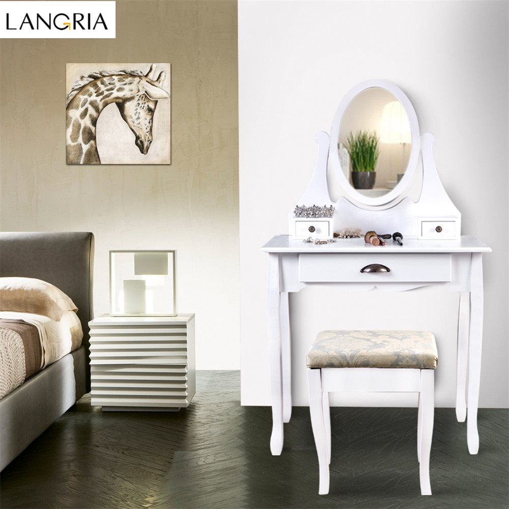 Langria makeup dressing table vanity and stool set with for Makeup vanity table and mirror