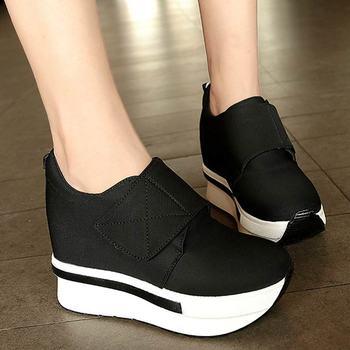 Zapatillas de deporte de verano para mujer con plataforma de cuña Zapatos casuales con gancho transpirable y zapatos de aspecto para mujer