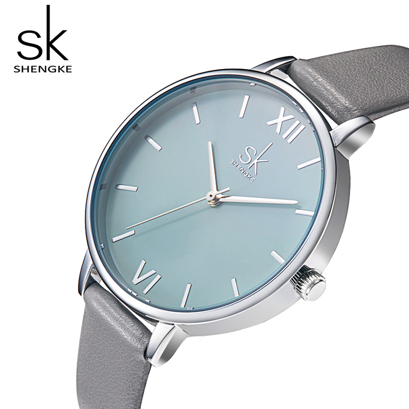 Shengke Brand Watches Women Casual Leather Strap Wrist Watch Luxury Quartz Ladies Watches Reloj Mujer 2018 SK Female Clock weiqin luxury gold wrist watch for women rhinestone crystal fashion ladies analog quartz watch reloj mujer clock female relogios