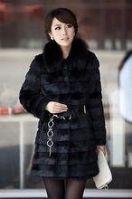 Lady Winter Black Collar Warm Faux Fur Long Sleeve Jacket Coat Outwear  new