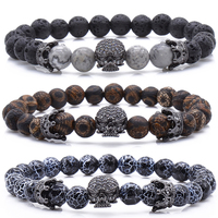New Design Stone Bracelet Men Women Popular Stone Bracelet Skull Micro Pave CZ Beads Skull Male
