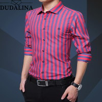 Dudalina Shirt Men Striped 2019 Long Sleeve Male Shirt Casual High Quality Business Man Shirts Slim Fit Designer Dress
