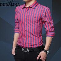 Dudalina Shirt Men Striped 2019 Long Sleeve Male Shirt Casual High Quality Business Man Shirts Slim Fit Designer Dress