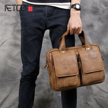AETOO Men 's first layer of leather cowhide retro handbag men' s bag shoulder briefcase horizontal business casual postman packa