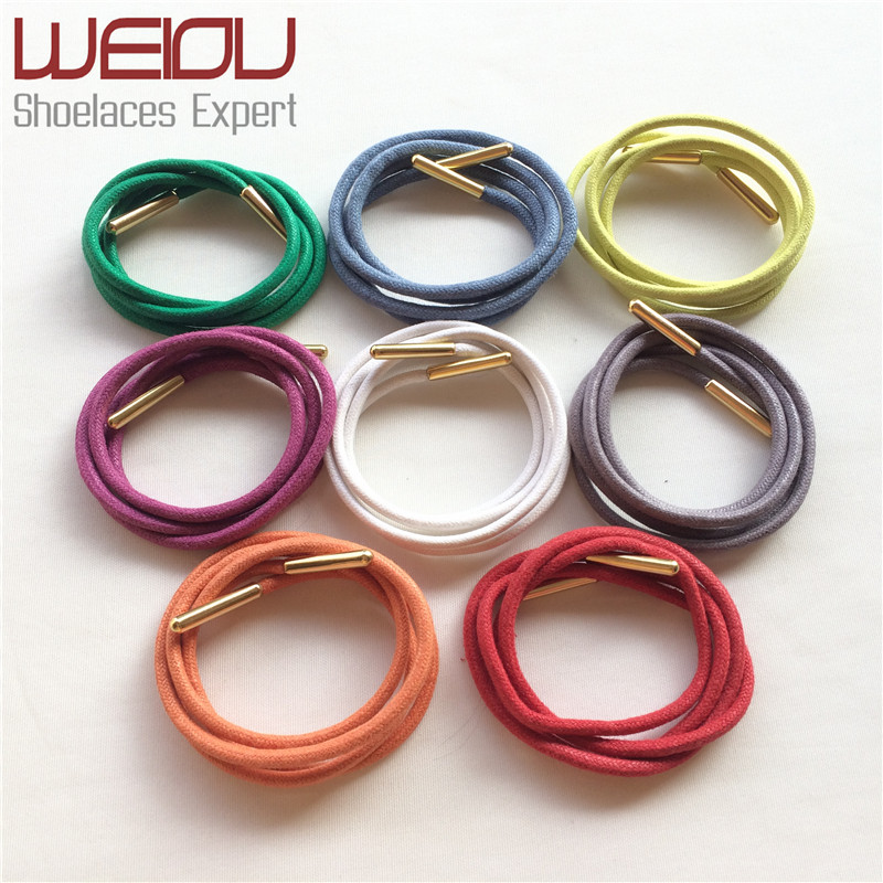(30pairs/Lot) Weiou waxed cotton round shoelaces colored waxed cotton dress shoelaces round waxed string for leather shoes