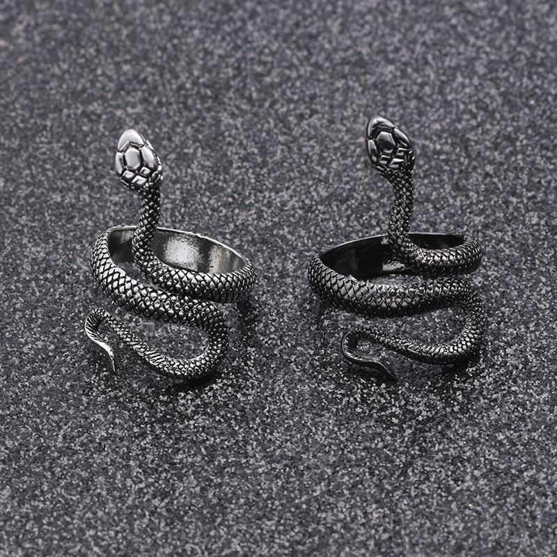 Fashion Retro Exaggerated Spirit Snake Ring Personality Punk Wind Snake-Shaped Nightclub Ring Student Trend Jewelry Gift 1