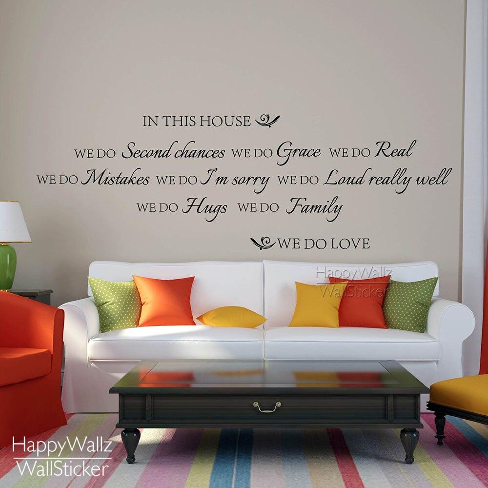 Dans cette maison famille quote wall sticker bricolage maison citation sticker mural amovible facile décoration murale