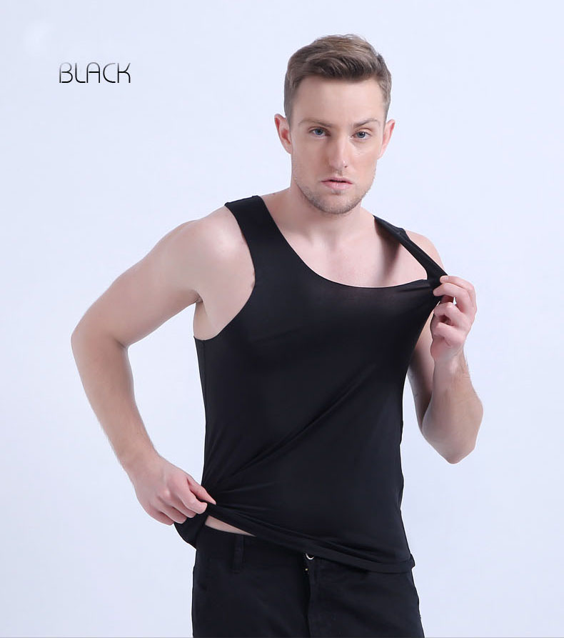 men's singlet underwear 8 color seamless high elastic narrow shoulder basic   tank     top