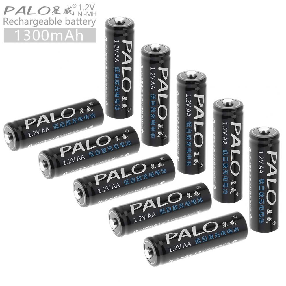 PALO 10pcs <font><b>1.2V</b></font> <font><b>AA</b></font> 1300 mAh Ni-MH <font><b>Rechargeable</b></font> <font><b>Battery</b></font> with Low Discharge for Children's Toy / Mouse / Camera image