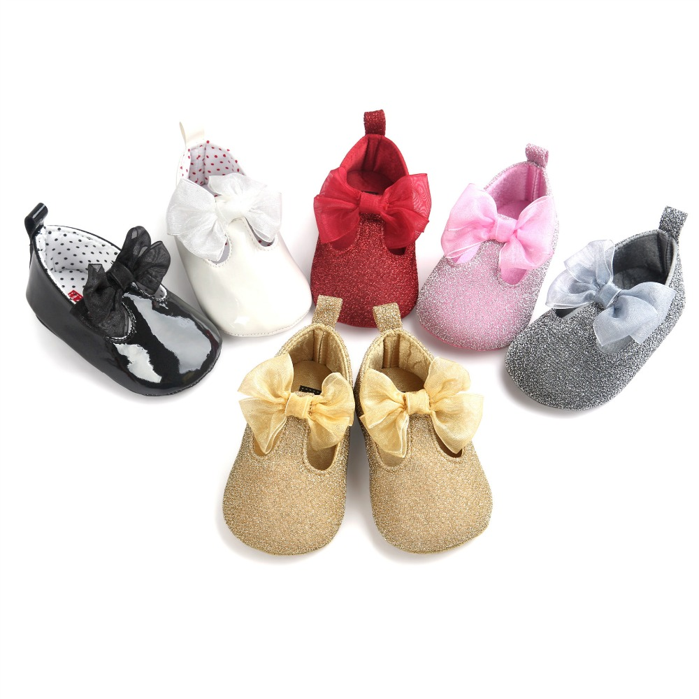 Baby Girls Princess Shoes Newborn Mary Jane Footwear Kids First Walkers  Sparkle Big Bow Soft Sole Dress Ballet Prewalkers Shoe-in First Walkers  from