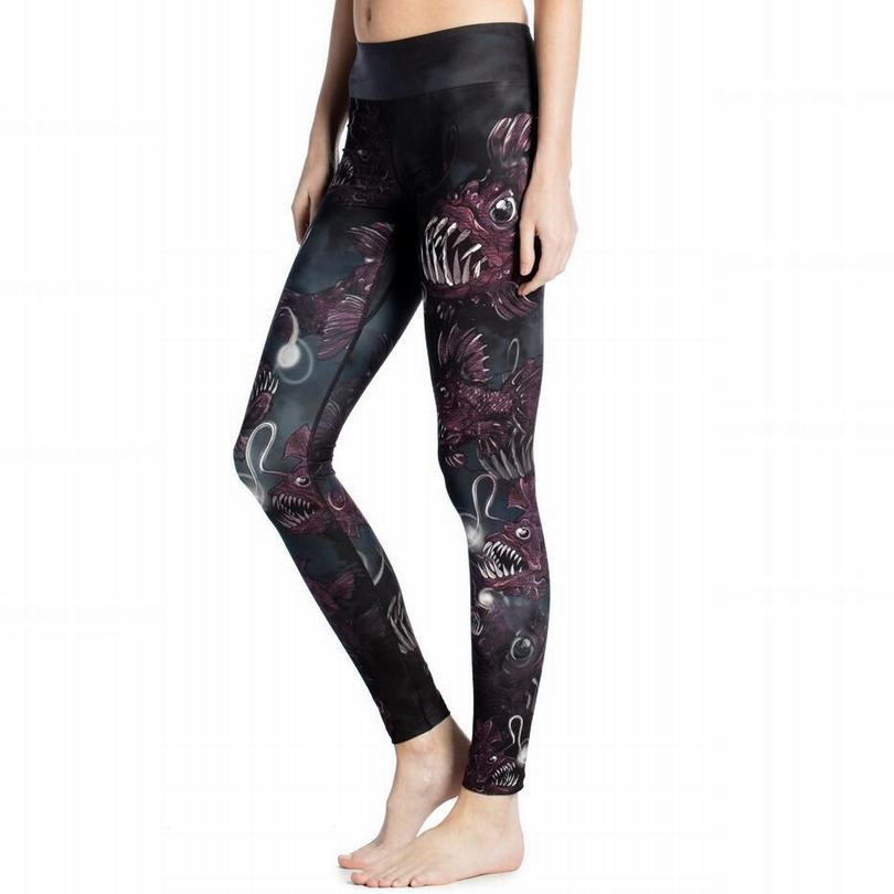 2016 Elastic Compression Tights Fitness Running Trousers Women Sports Yoga Pants Workout Gym Dangerous Fish Print Leggings YG042