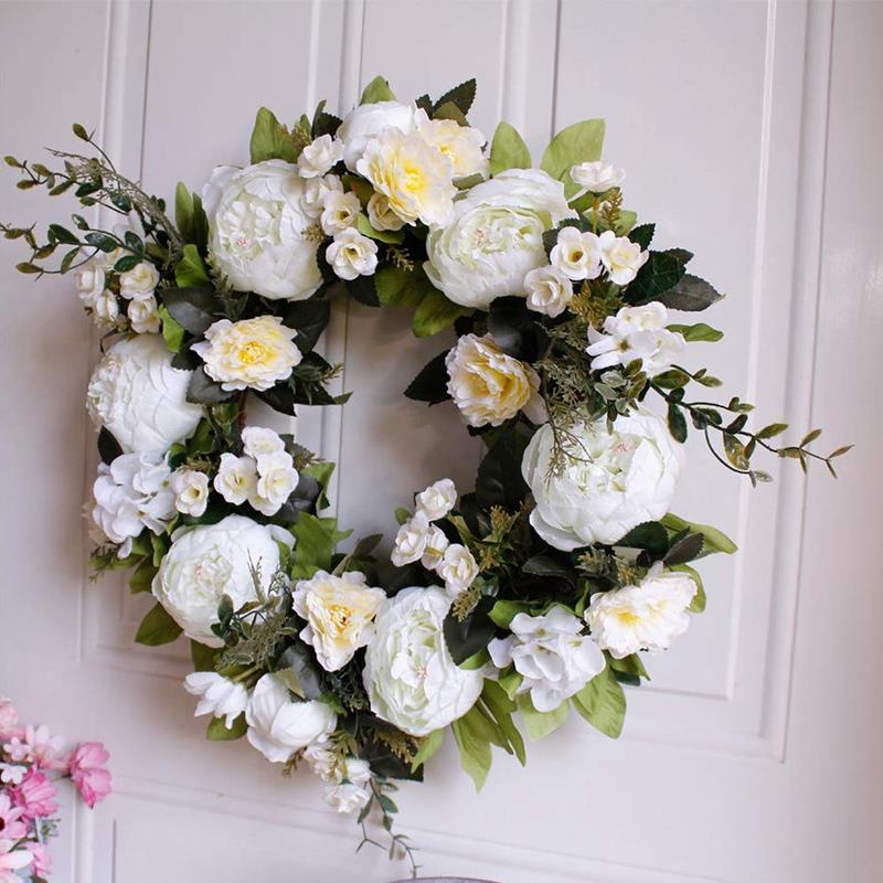 16 Inch Peony Hydrangea Wreath,Artificial Peony Flower Wreath Door Wreath With Green Leaves Spring Wreath For Front Door,Weddi