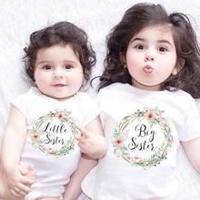 Летни бебета Деца момичета Малка голяма сестра съвпадение дрехи гащеризон гащеризон екипировки ризи Семейство съвпадение тоалети