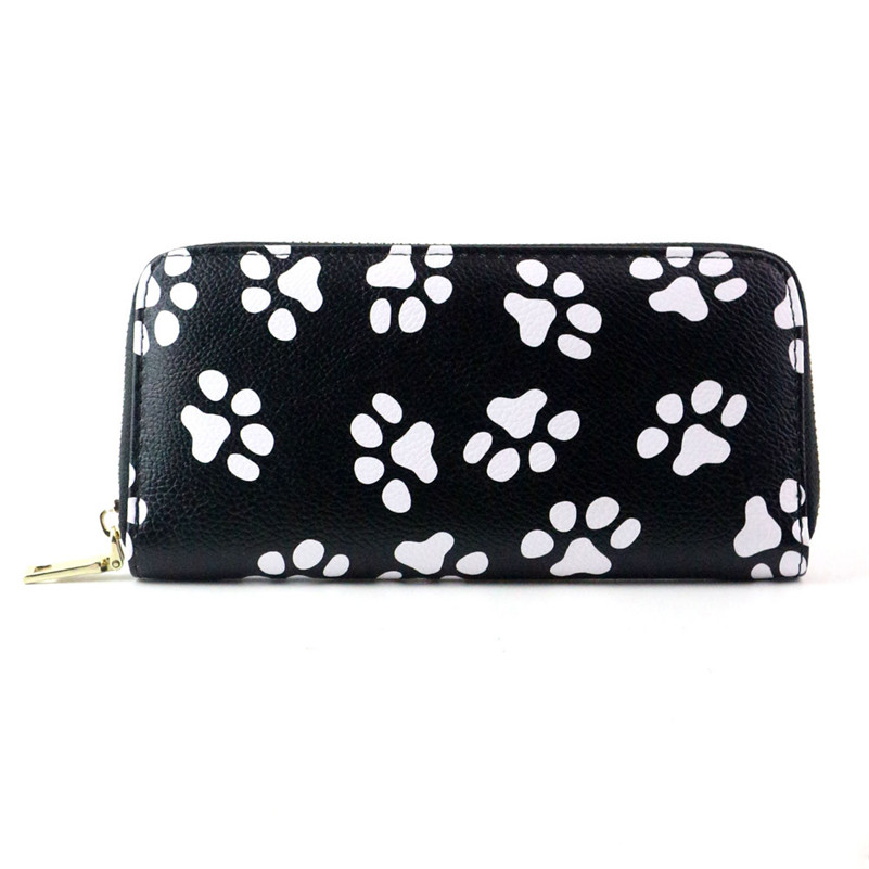 2017 New Brand Women Fashion And Cute Clutch Smiling Face Paw Long Purse Wallet Card Holder Bag High Quality Sac A9 2016 new fashion lady women long purse luxury clutch wallet zip bag card holder high quality free shipping nov 30