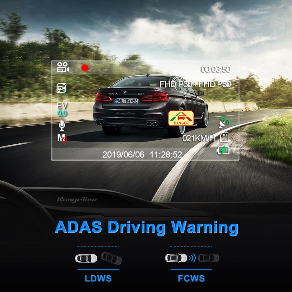 Carro dvr 4 k 2160 p gps wifi adas traço cam lente dupla 1080 p + 1080 p veículo câmera do carro gravador de condução - 5