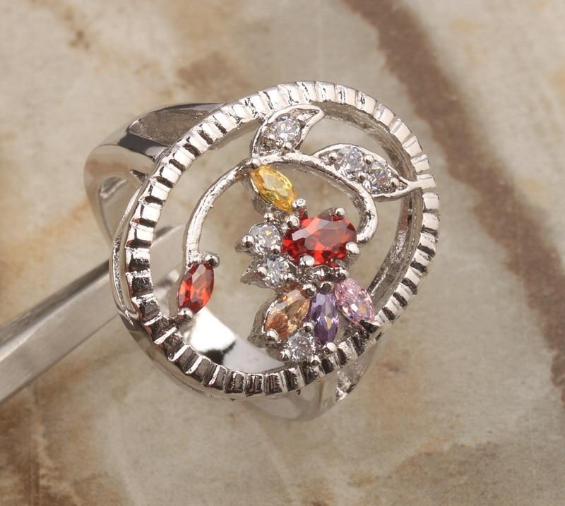 Харизматичный Многоцветный Morganite 925 серебро Для женщин jewelry Кольца Размеры 6 7 8 9 S1364