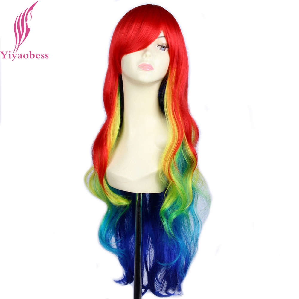 Yiyaobess 32inch Synthetic Harajuku Multi Color Rainbow Ombre Wig Cosplay Hair Long Wavy Wigs For Women