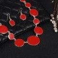 2016 Novos Conjuntos de Jóias 5 Cores Gotejamento Rodada Gargantilha Declaração Collar Colares + Brincos de 2 conjuntos de Jóias Bohemia pçs/sets