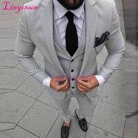 Linyixun Grey Men Suits For Wedding Groom Suits Mens Wedding Tuxedos Formal Man Suit Slim Fit Groomsmen Tuxedo (jacket+pant+vest