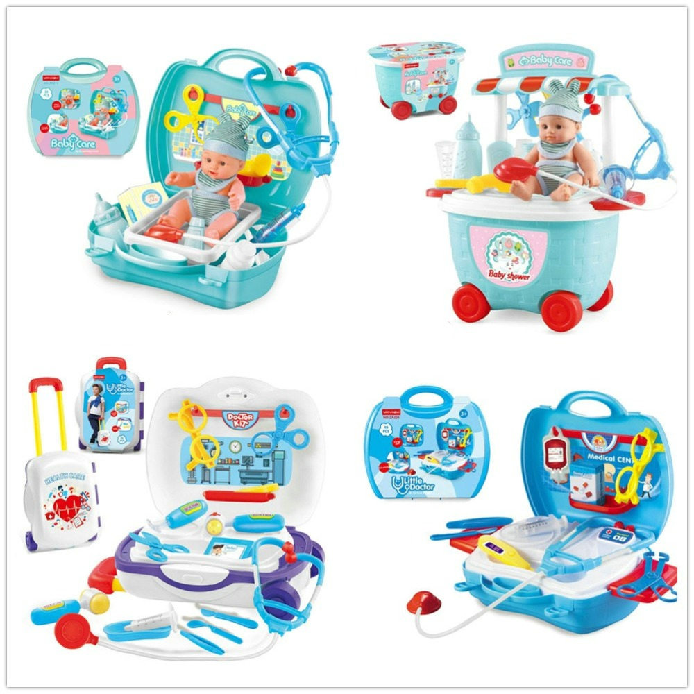 Kids Doctor Set Stethoscope Medical Kit Suitcase Medicine Accessories Pretend Play Doctor Games Toys for Children Girls 3 years
