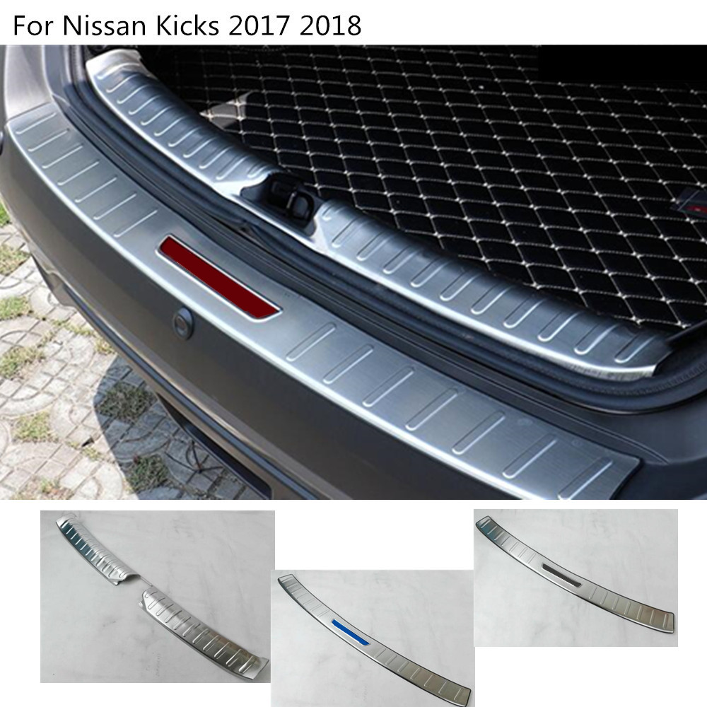 car body external inner inside rear bumper Protect trunk trim cover Stainless Steel plate pedal 1pcs For Nissan Kicks 2017 2018 car auto accessories rear trunk molding lid cover trim rear trunk trim for nissan sunny versa 2011 abs chrome 1pc per set