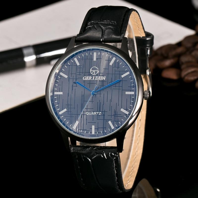 Menonton fesyen mewah kulit palsu lelaki mens analog jam tangan ... 9ce35c050c