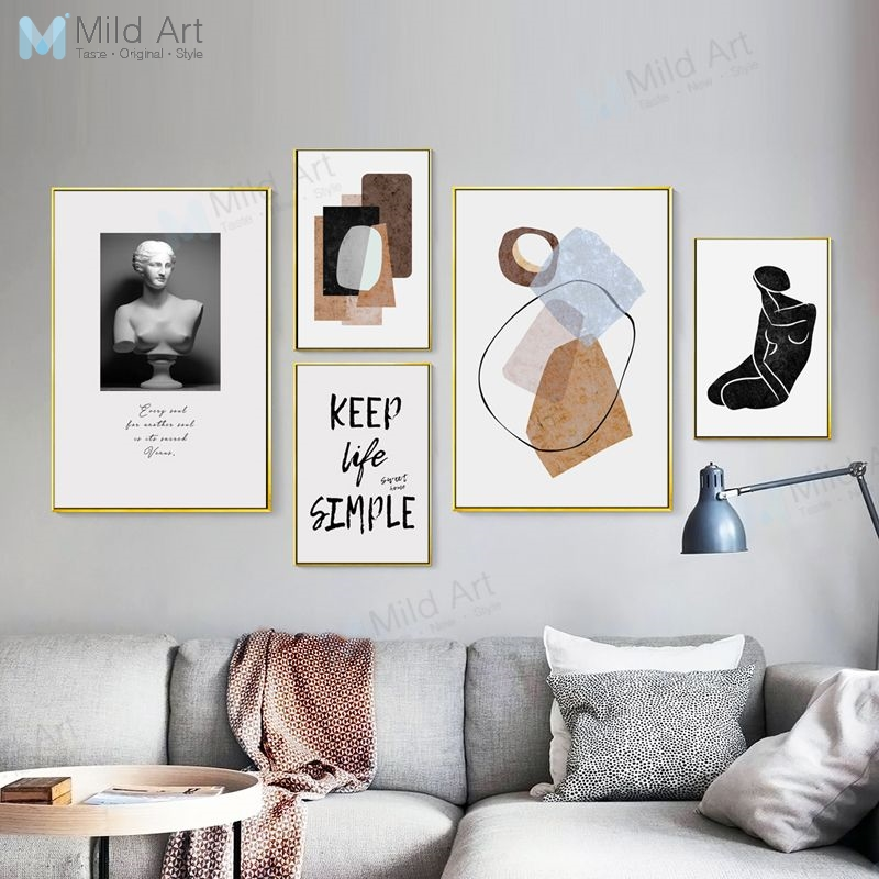 Modern Abstract Color Shape Venus Statue Life Quotes Poster Print Nordic Living Room Wall Art Picture Home Decor Canvas Painting in Painting Calligraphy from Home Garden