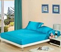Seda cor sólida equipado fronhas lençol Capa de colchão caixa de proteção colcha de solteiro completo 2 pcs rainha king size 3 pcs