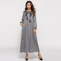 2019 NEW Women's Dress Dubai Muslim Long Sleeve Embroidered Arabic Dress Islam Abaya Jilbab 4.13