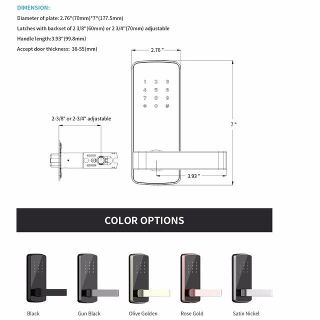 Keyless Electronic Door Lock Password Bluetooth Digital Smart Door Lock With TT lock App Remote Control for home and apartment
