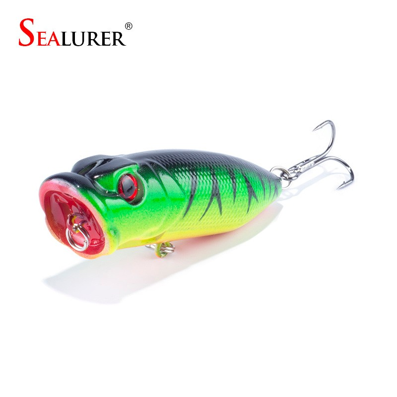 цены  SEALURER Brand Fishing Tackle 3D eyes 6.5CM 13G Pesca 6# Treble Hooks Popper Fishing Lure Plastic Wobbler Artificial Hard Bait