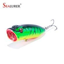 SEALURER Brand Fishing Tackle 3D eyes 6.5CM 13G Pesca 6# Treble Hooks Popper Fishing Lure Plastic Wobbler Artificial Hard Bait