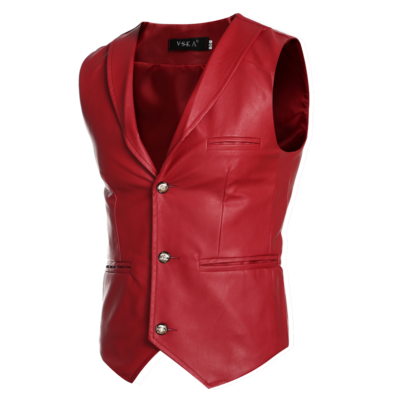 New Designs Faux Leather Jacket Vests Men Red White Black Single Breasted V Neck Mens Waistcoat Slim Fit Sleeveless Coat Male