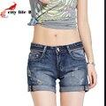 Отверстие джинсовые шорты женщин лето национальный стиль большой размер свободный стиль женский краями заклепки женщины джинсовые шорты