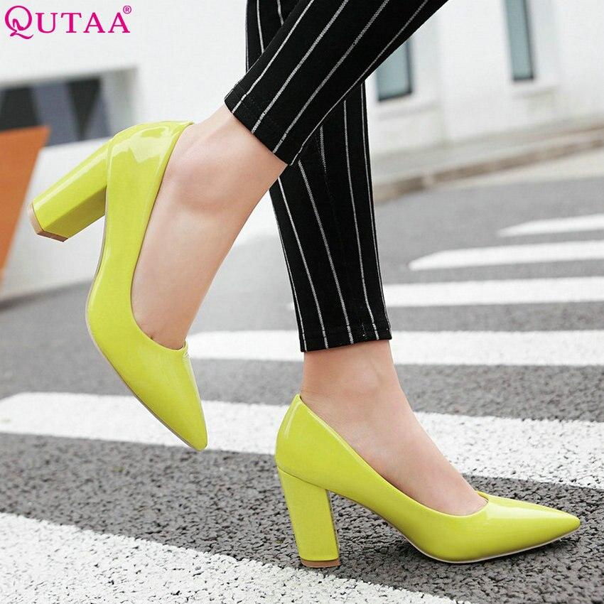QUTAA 2020 Women Pumps Square High Heel Fashion Women Shoes Platform Slip On All Match Elegnat Casual Wedding Shoes Size 34-43