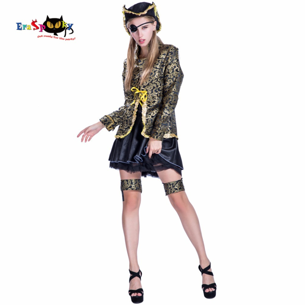 2017 Fashion Christmas Costume Women Sexy Gold Color Caribbean Women Pirate Jacket Dress Hat Suit Halloween Outfit For Adult