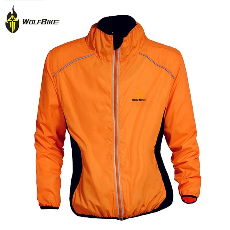 WOLFBIKE moški zimski jesenski kolesarski plašč vetrno zaščitna cestna kolesna oblačila z dolgimi rokavi majica veter deževen nepremočljiva jakna, oranžna
