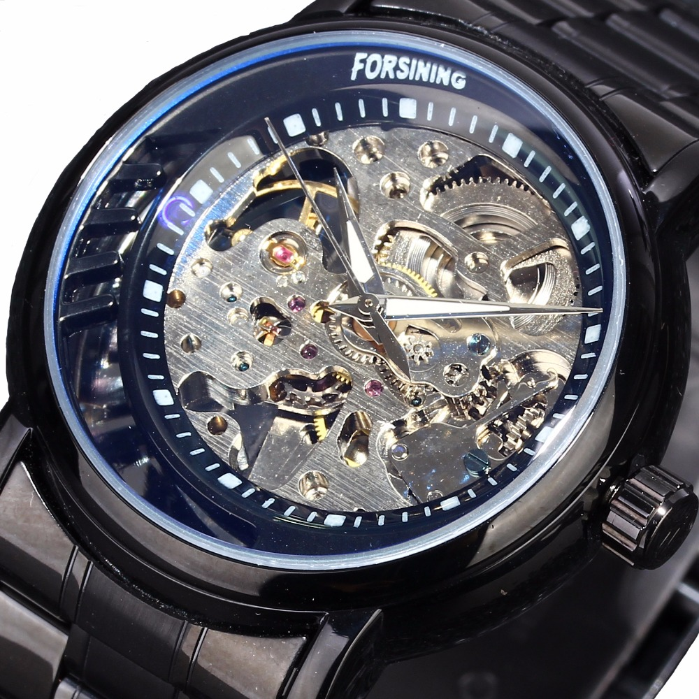 цены 2016 Men's Watch Top Brand Luxury Winner Skeleton Watch Full Steel Strap Gold Automatic Mechanical Watches Dress Male Wristwatch