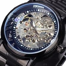 2016 Reloj de Los Hombres de Primeras Marcas de Lujo Ganador Esqueleto Reloj de Acero Lleno de La Correa Relojes Mecánicos Automáticos de Oro Vestido Reloj Masculino
