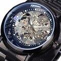 2016 Relógio dos homens Top Marca de Luxo Relógio Esqueleto Vencedor Completa Alça Aço relógio de Ouro Mecânico Automático Relógios Vestido relógio de Pulso Masculino