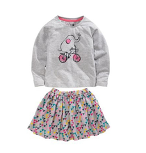Retail 2016 New Next baby girl clothes set 2 pcs The spring autumn period and the long sleeve cartoon elephant T-shirt + dress