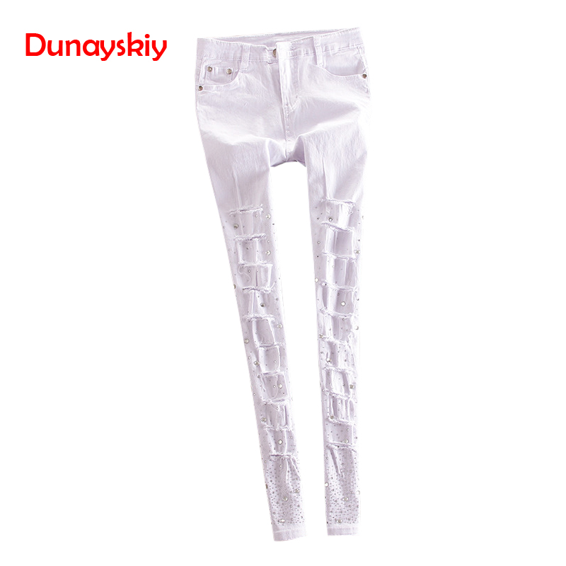 New Cotton Jeans Women Rhinestone High Waist Single Breasted Denim Pants Feet Pencil Pants Plus Size Spring And Summer Holes