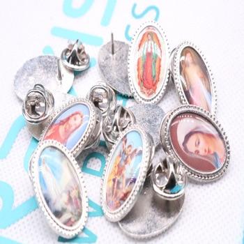 Charm of various Christ Jesus icon brooch, 100 pieces. Christ Jesus Brooch, Guadalupe Brooch. Blue Virgin Mary Brooch 1.5cmX2.2c фото
