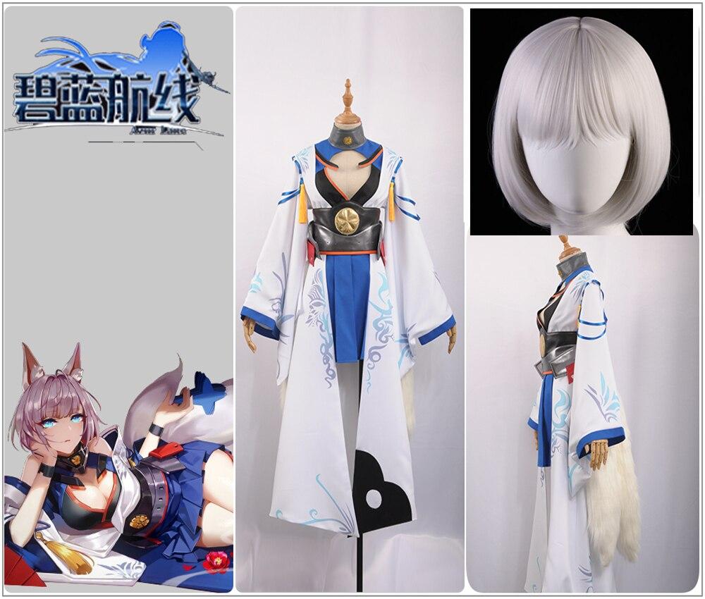 Azur Lane Cosplay IJN Kaga Costume Girl Dress Battleframe Kimono Blue Skirt Silvery Bobo Wig Tail Halloween