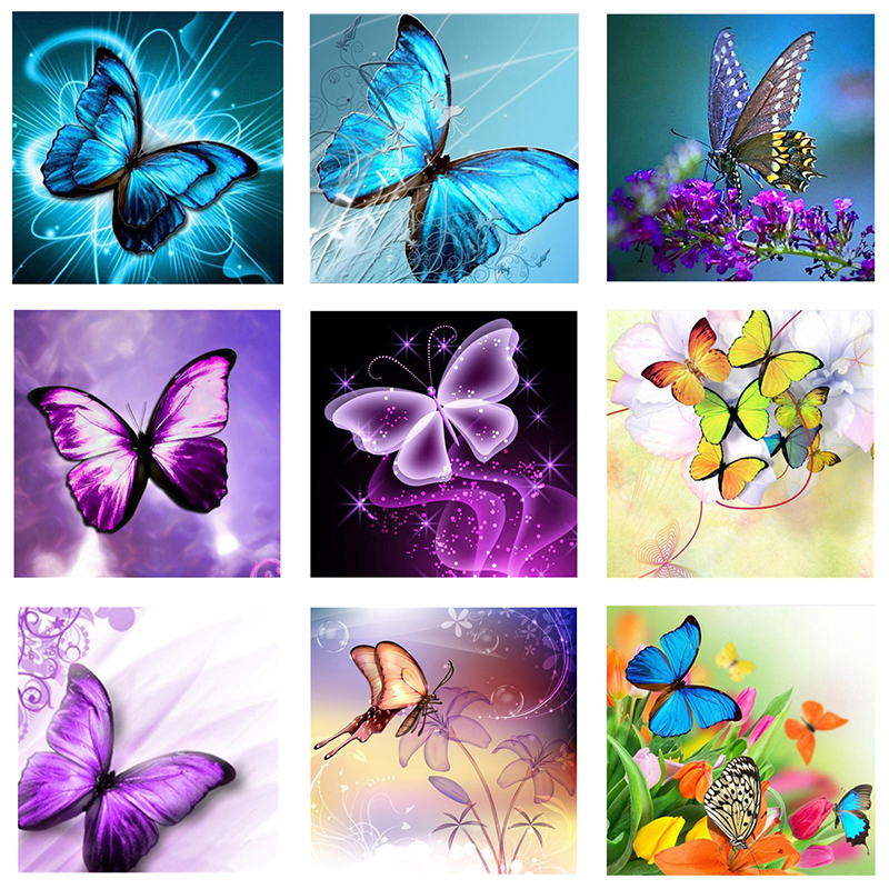 5d DIY Diamond Embroidery,butterfly Flower,Full Square Daimond Painting Mosaic Rhinestone By Numbers Wedding Decoration BK