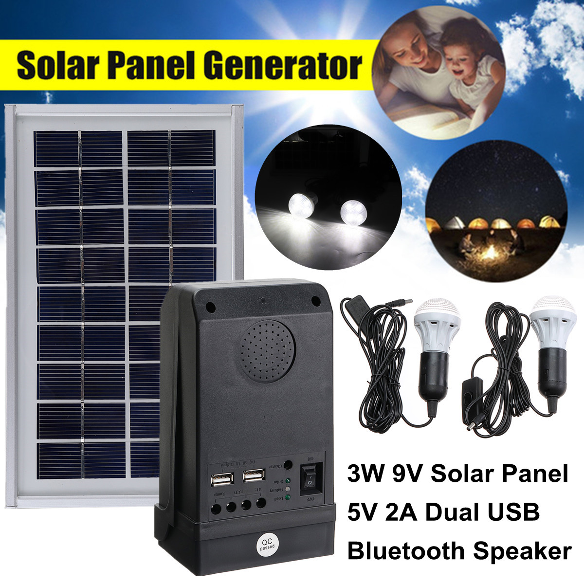 5V 2A USB Charger System with Bluetooth Speaker Solar Panel Power Generator LED Light Reusable Durable Camping Large Capacity diy 5v 2a voltage regulator junction box solar panel charger special kit