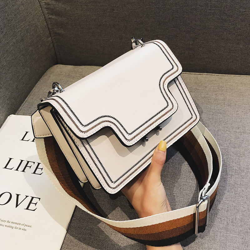 Embroidered Designer Handbags For Women With Wide Shoulder Strap Ladies Small Flap Bag Ladies Shoulder Messenger Bag Handbag
