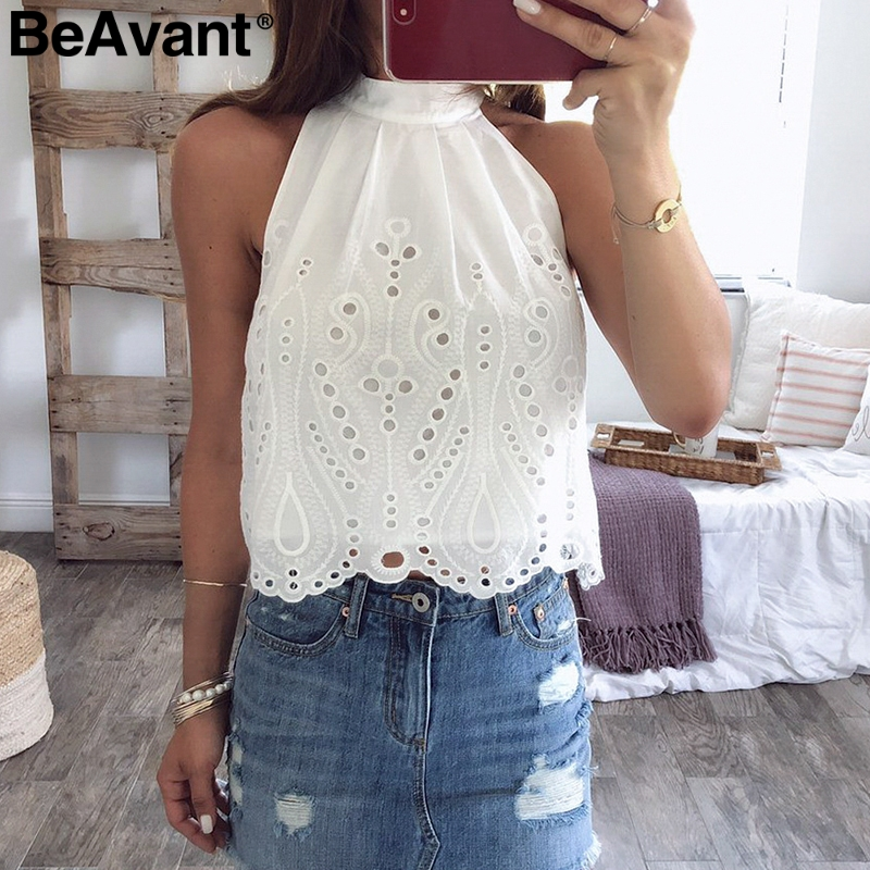 BeAvant Vintage halter women   tank     tops   White cotton sleeveless shirt summer   tops   Lace embroidery female streetwear ladies camis